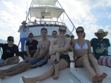 the group on the boat