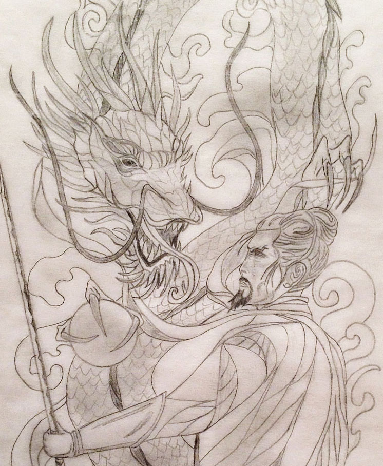 Sacred samurai dragon 3 4 sleeve tattoo design tania for Dragon and samurai tattoo meaning