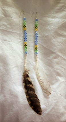 Hawk and seagull feather earrings