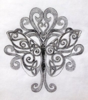 Celtic Butterfly & Tree of Life Sacred Tattoo Design