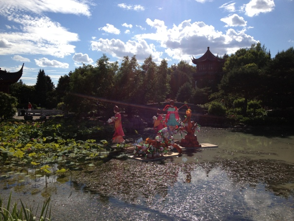 chinese garden and ray of light