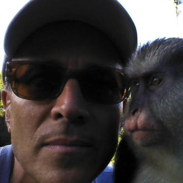 David with Monkey friend in Grenada