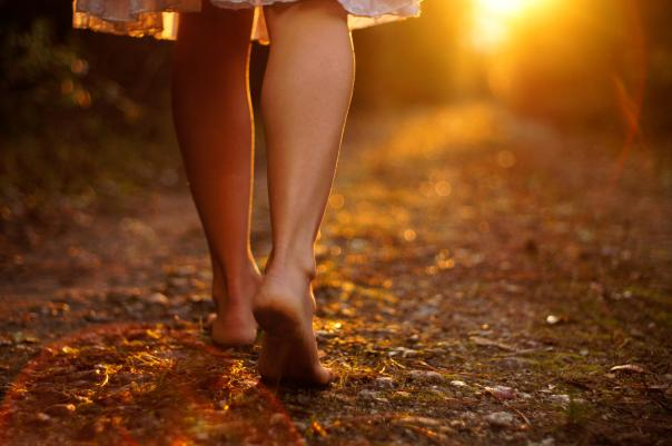 barefoot on autumn leaves