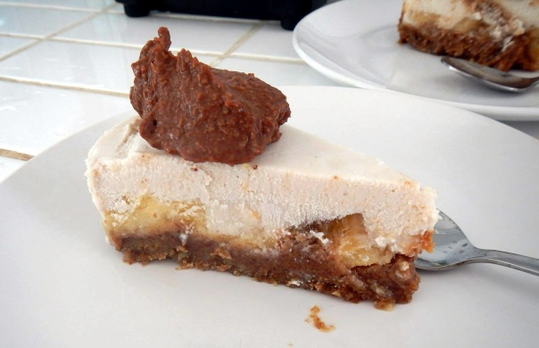 Bannofee Pie (bananas, caramel, coconut cream with chocolate sauce)...all raw