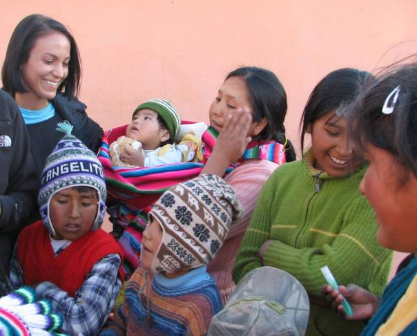 giving gifts on Amantani Island on Lake Titicaca