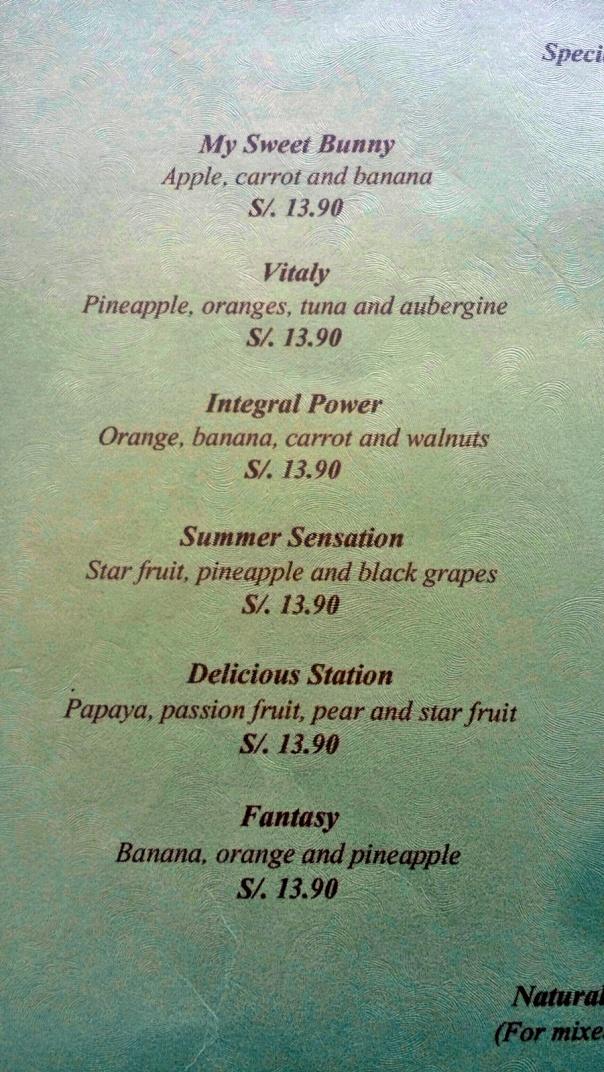 juice menu