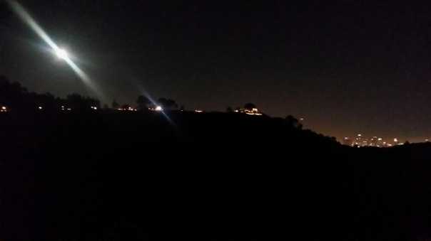 full moon over griffith observatory