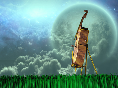 Cello in dream like landscape