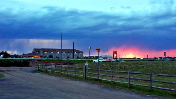 sunset and lightning